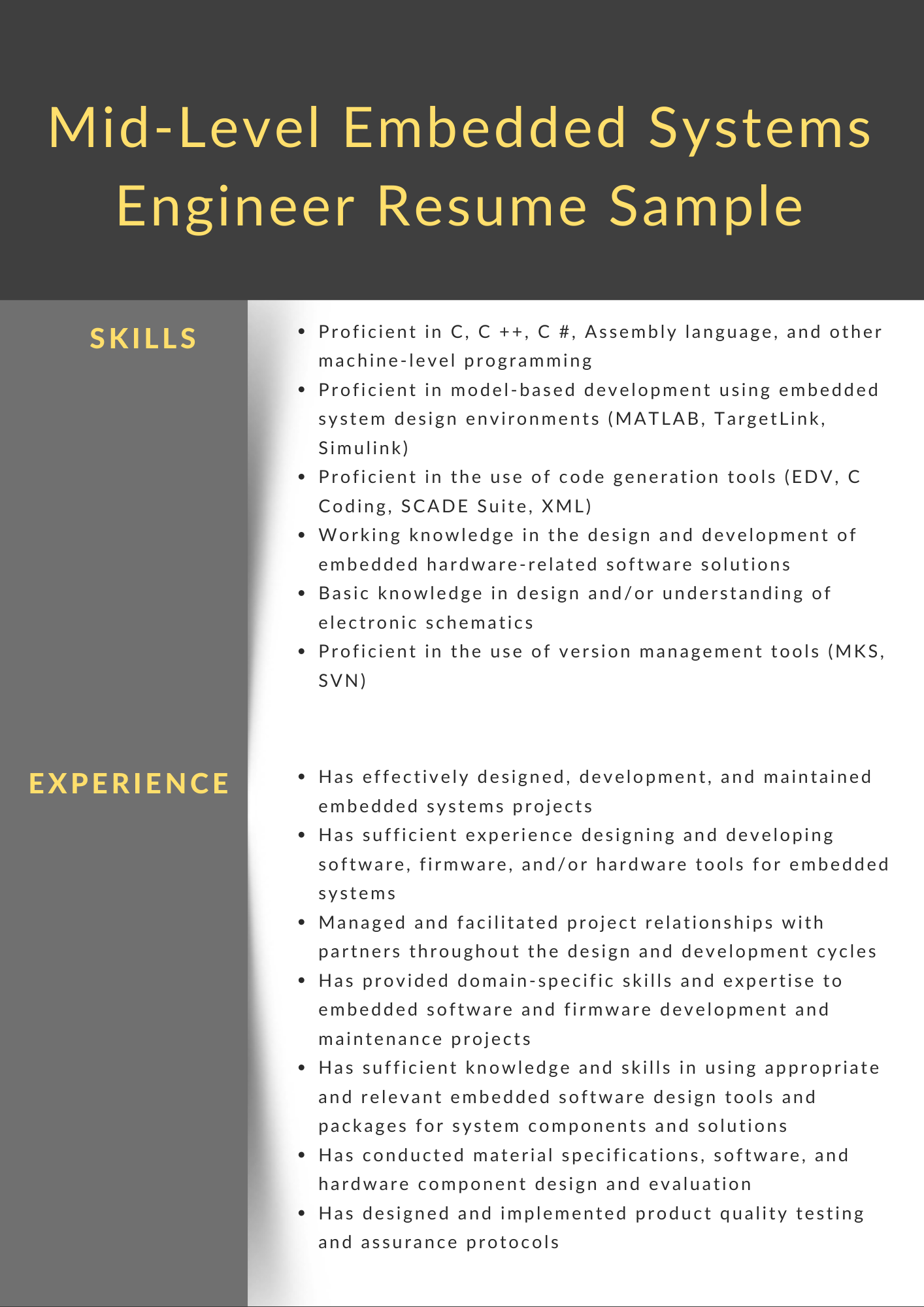 mid-level embedded systems engineer CV example