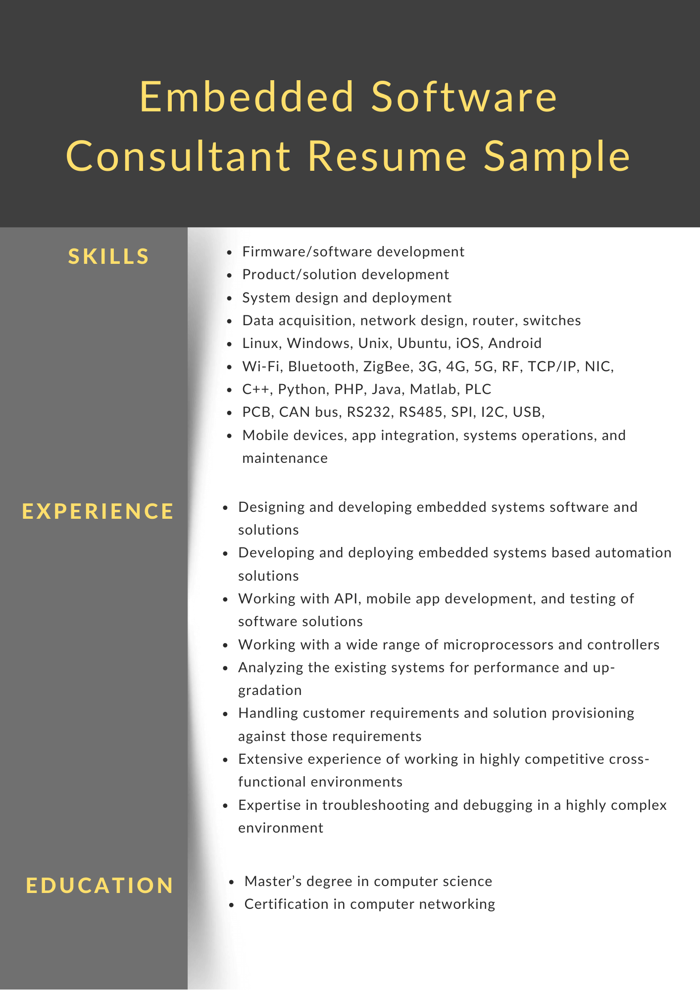 embedded software consultant resume sample